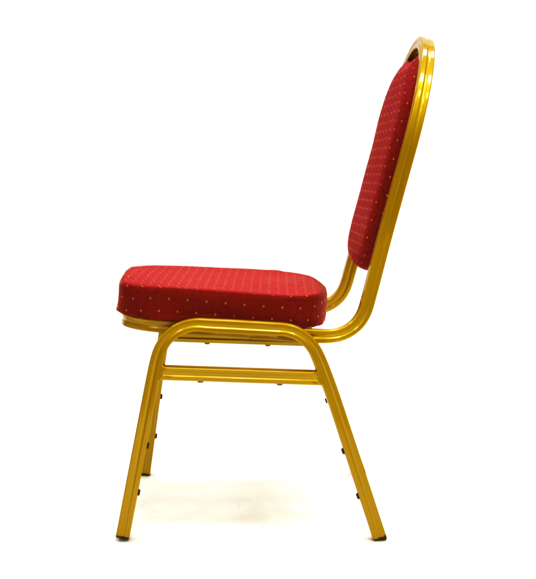 Side view of Banqueting Chair, Red and Gold - BE Furniture Sales