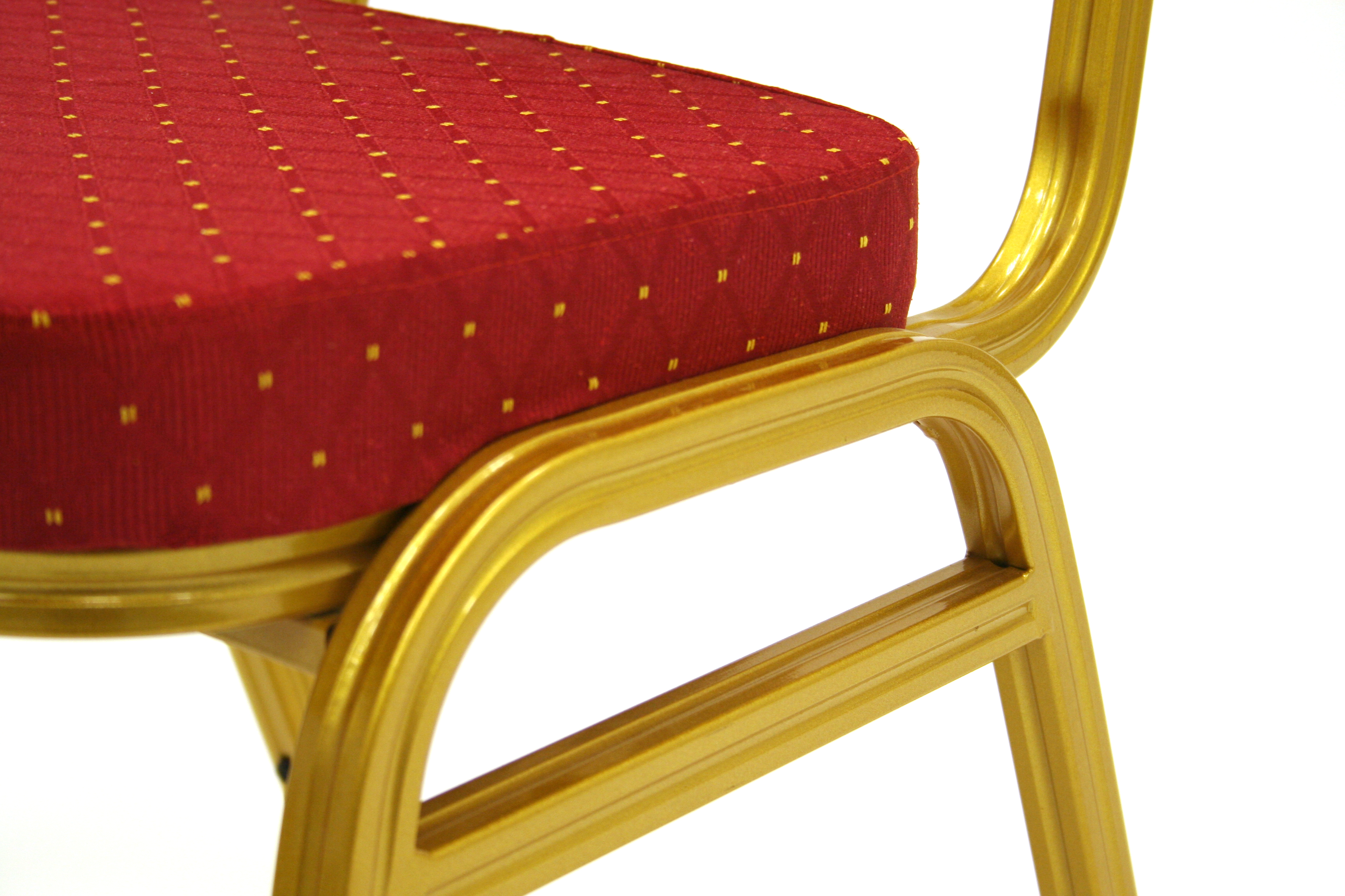 Close up side view of Gold Frame and Red Seat Pad Banqueting Chair - BE Furniture Sales