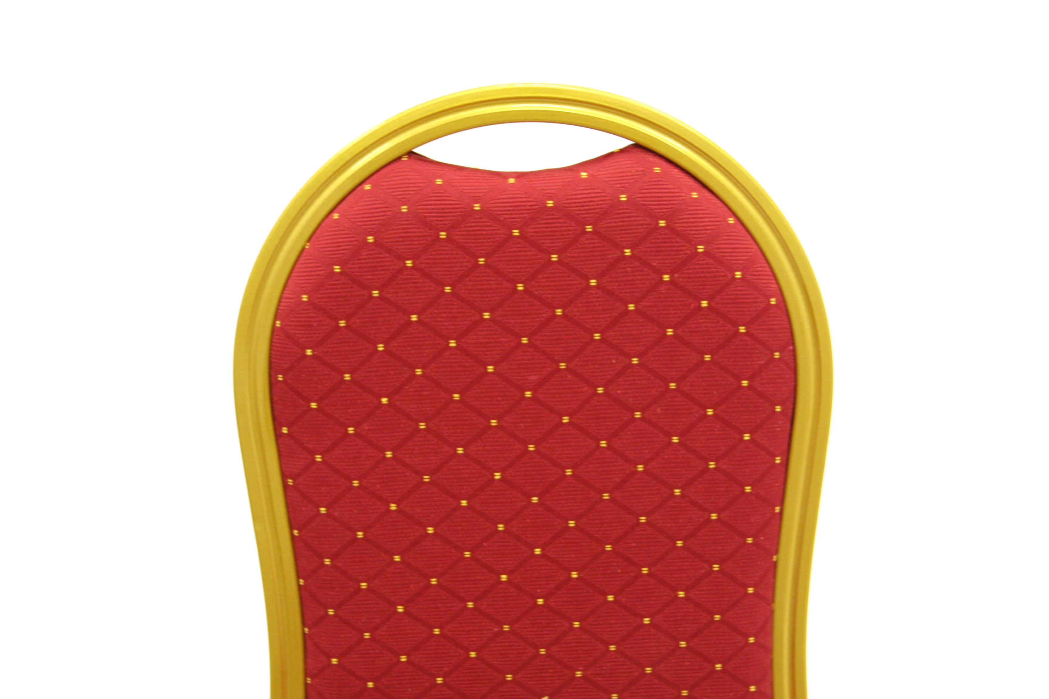 Gold aluminium framed banquet chair with a red padded seat & back - BE Furniture Sales