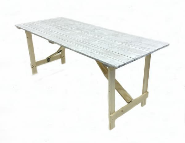 Distressed Wood Trestle Table - 6' by 3' - BE Furniture Sales