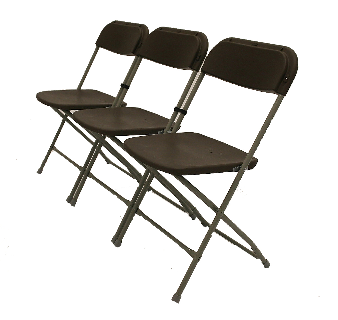 Lightweight tubular metal folding chairs linked together - BE Furniture Sales