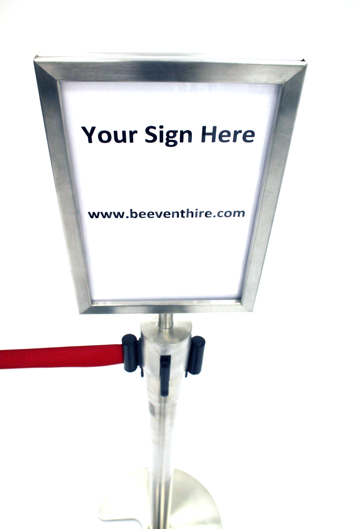 A4 posters and signs on barrier posts - BE Furniture Sales