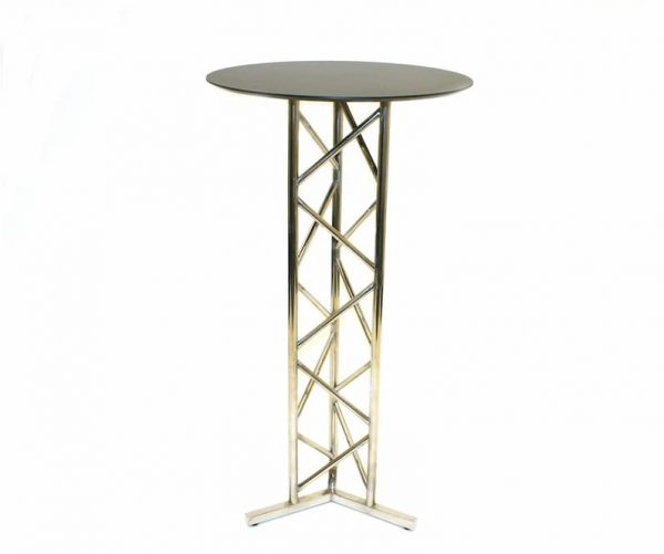 Stainless Steel Bar Table - Black Wooden Table Top - BE Furniture Sales