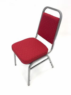 Red Banqueting Chairs with Silver Frame - Budget - BE Furniture Sales