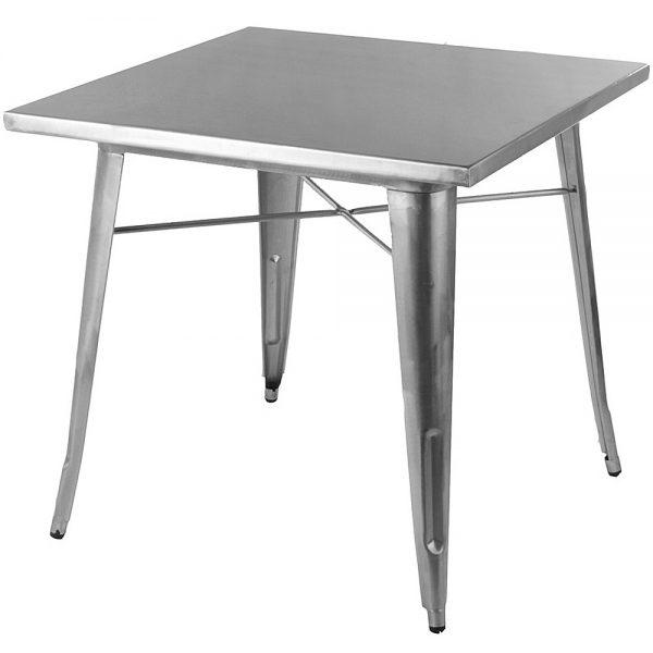 Silver Metal Tolix Tables - 70 cm x 70 cm for Cafes, Restaurants, Bistros and Garden - BE Furniture Sales