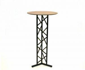Black Metal High Bar Table - Oak Effect Wooden Top - BE Furniture Sales