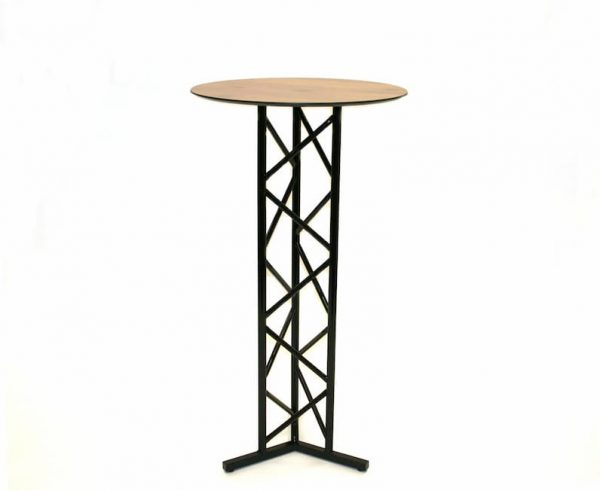 Black Metal High Bar Table - Oak Effect Wooden Top - BE Furniture Sales