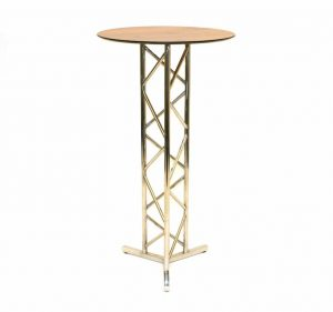 Stainless Steel High Bar Table - Oak Effect Table Top - BE Furniture Sales