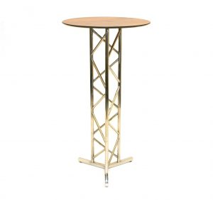 Stainless Steel High Table - Oak Effect Table Top - BE Furniture Sales