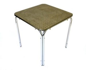 Square Aluminium Bistro Table - Rolled Edge - BE Furniture Sales