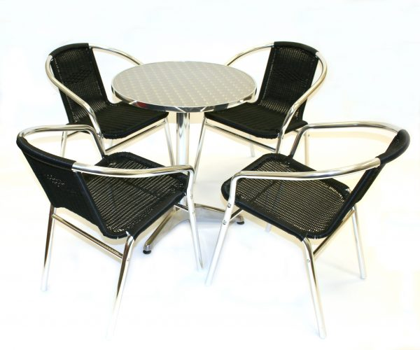 Bistro Garden Furniture Set - Black Rattan - BE Furniture Sales