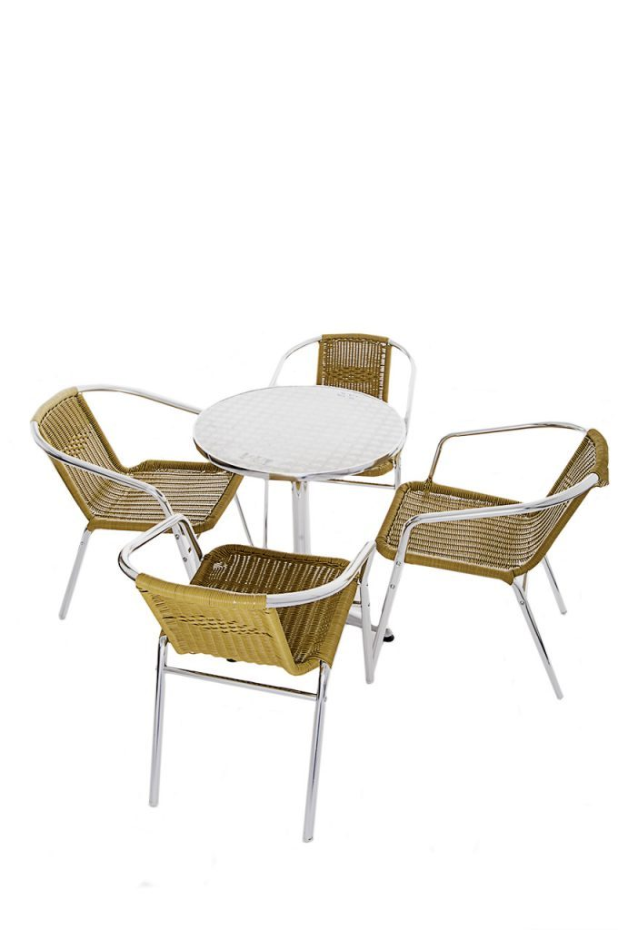 Bistro Garden Furniture Set - Yellow Rattan - BE Furniture Sales