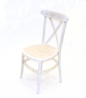 Limewash Wooden Cross Back Chair - BE Furniture Ltd