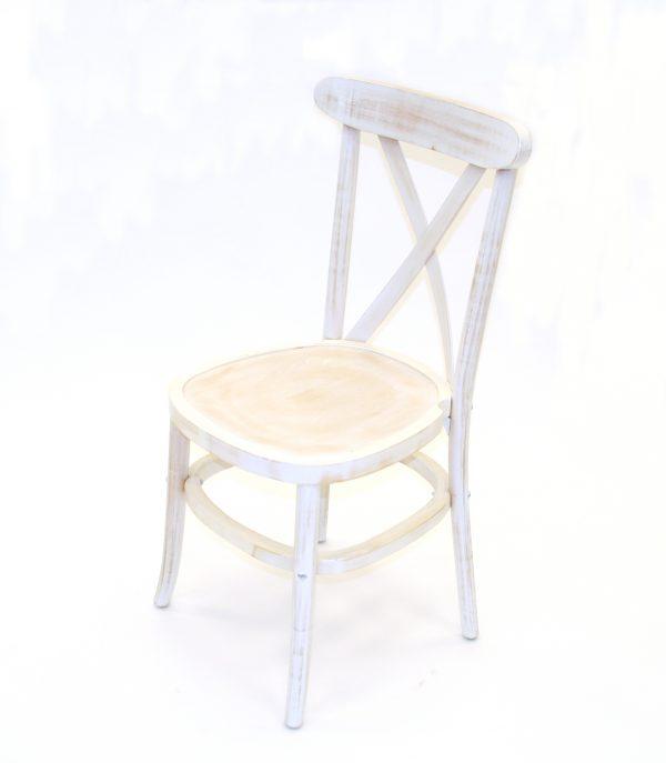 Limewash Wooden Cross Back Chair - BE Furniture Ltd