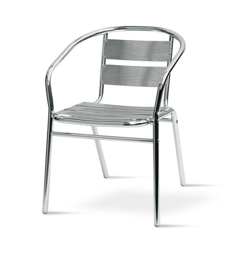Bistro Chair - Plain Aluminium Bistro Chairs - BE Furniture Sales