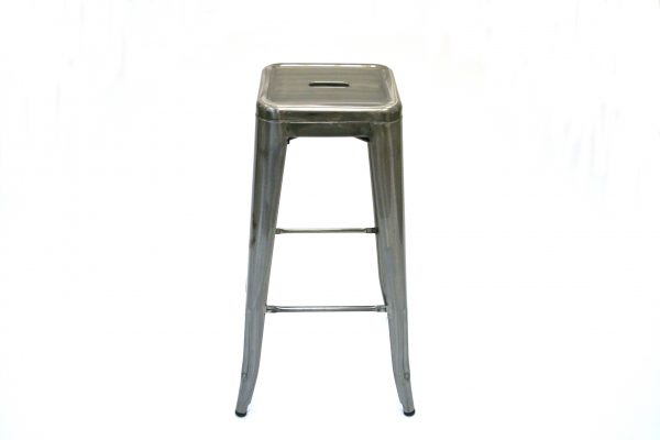 Silver Metal Tolix Bar Stools for cafes, bistro bar seating - BE Furniture Sales