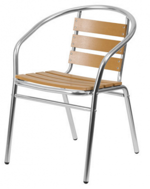Wood Effect Aluminium Chair - Cafe & Garden Chairs - BE Furniture Sales