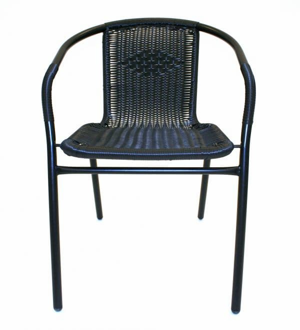 Black Rattan Chairs - Front View - BE Furniture Sales