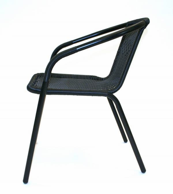 Black Rattan Chairs - Side View - BE Furniture Sales