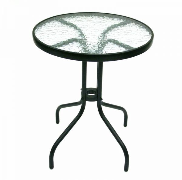 Glass Garden Table - Black Frame, 60cm Dia - BE Furniture Sales