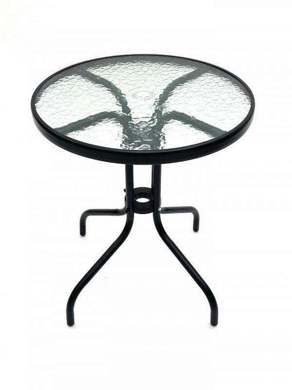 Round Glass Garden Table - Black Frame, 60cm Diameter - BE Furniture Sales