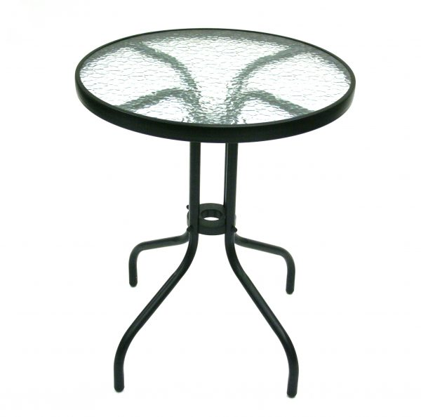 Glass Garden Table- Black Frame, 60cm Dia - BE Furniture Sales