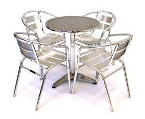 fish & chip shop aluminium cafe table and chair set - BE Furniture Sales
