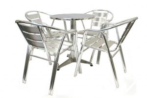 fish & chip shop aluminium double leg table and chair cafe set - BE Furniture Sales