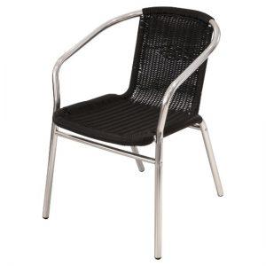 fish & chip shop black rattan aluminium chair - BE Furniture Sales
