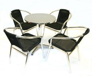 fish & chip shop black rattan furniture table and chair set - BE Furniture Sales