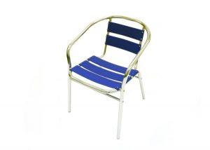 fish & chip shop blue aluminium chair - BE Furniture Sales