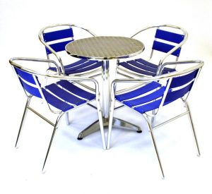 fish & chip shop blue aluminium furniture table and chair set - BE Furniture Sales