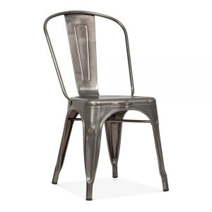 fish & chip shop silver metal tolix chairs - BE Furniture Sales