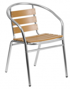fish & chip shop wood effect aluminium chair - BE Furniture Sales