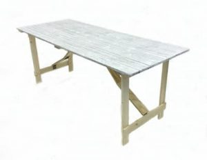 Distressed Wood Trestle Table - 6' by 2'6'' - BE Furniture Sales