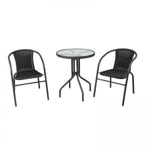 Black Rattan Garden Balcony Set - Black Balcony Sets - BE Furniture Sales