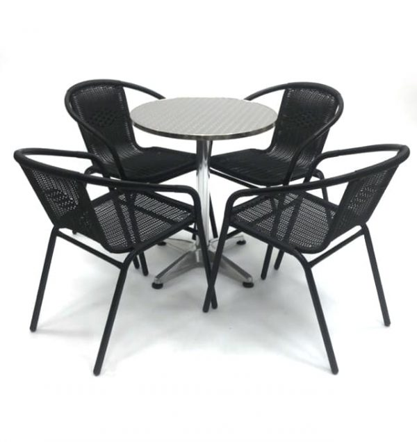 Black Rattan Garden Sets with Aluminium Table - BE Furniture Sales
