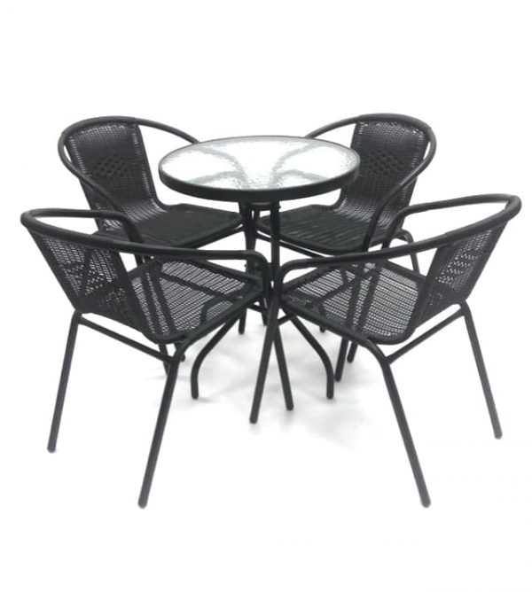 Black Rattan Garden Furniture Set with Glass Bistro Table - BE Furniture Sales