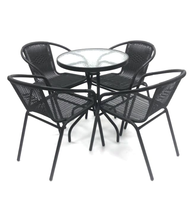 Black Framed Rattan Garden Sets with Glass Table - BE Furniture Sales