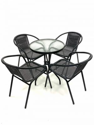 Black Rattan Garden Furniture Set with Glass Table - BE Furniture Sales
