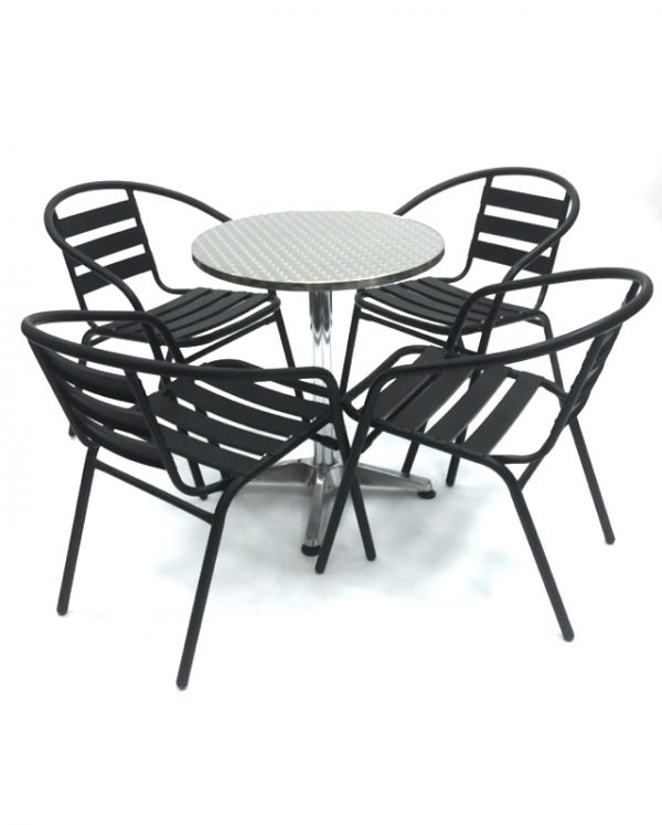 Black Steel Garden Sets with Round Aluminium Table - BE Furniture Sales