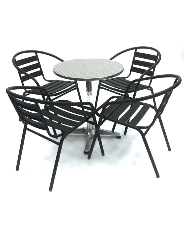 Black Steel Garden Sets with Aluminium Table - BE Furniture Sales