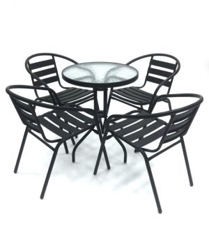 Black Steel Garden Furniture Set - BE Furniture Sales