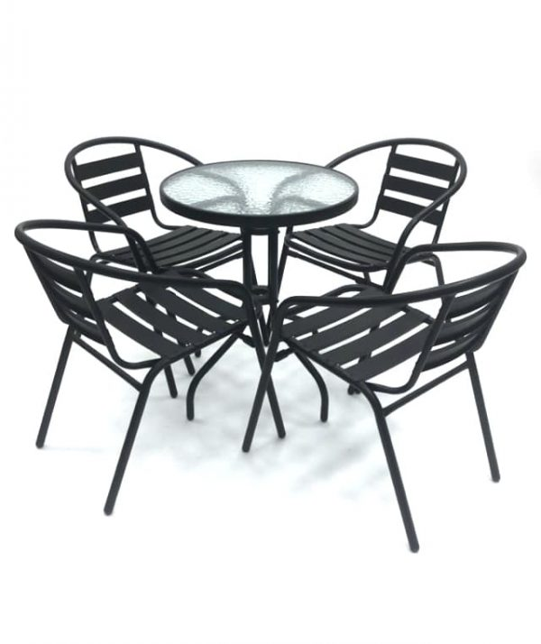 4 x Black Steel Chairs & Glass Garden Table Set - BE Furniture Sales
