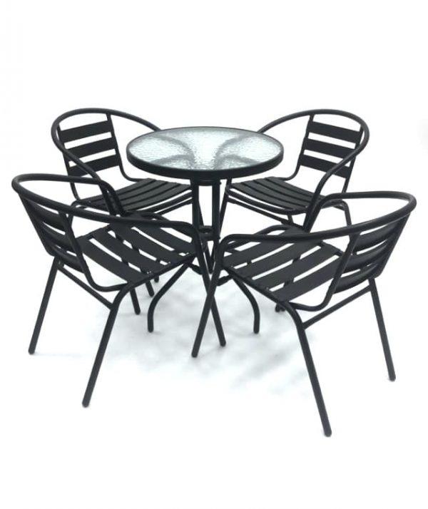 Black Steel Garden Furniture Set - BE Furniture Sales