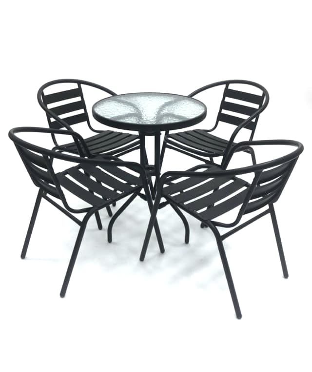 Black Steel Garden Sets with Glass Table - BE Furniture Sales