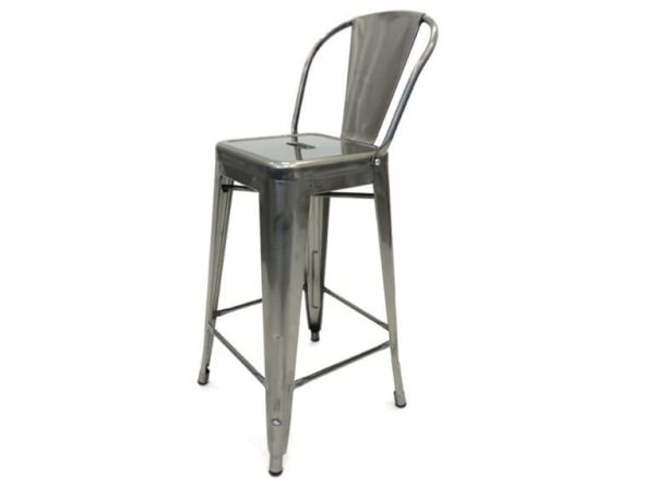 Silver Metal Tolix Counter Bar Stools - Bars, Home - BE Furniture Sales
