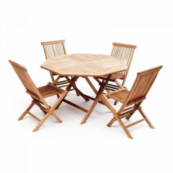 Teak Garden Furniture Set – 4 Chairs & 1 Table - BE Furniture Sales