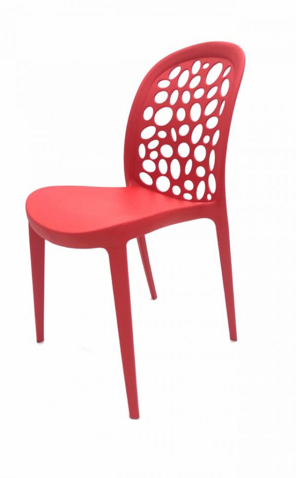 Roma Red Plastic Stacking Chair - BE Furniture Sales