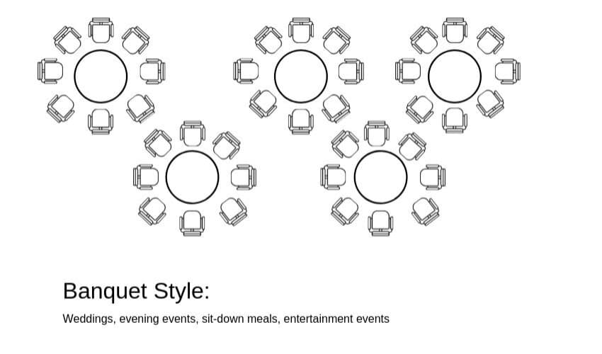 Banqueting Tables Banquet Style Layout - BE Furniture Sales